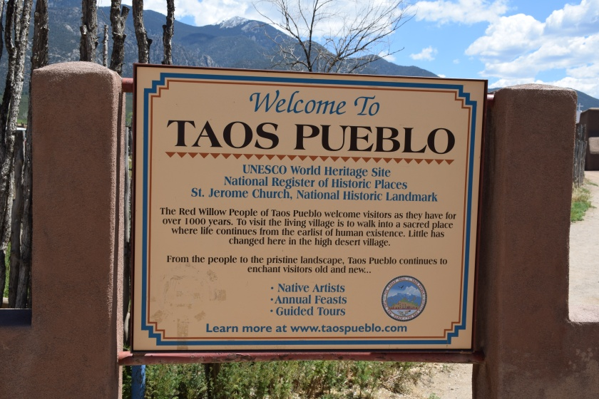 sign Welcome to Taos Pueblo