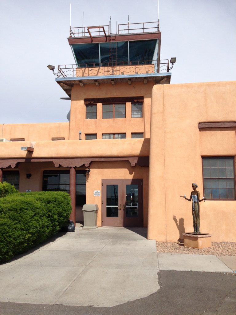 the Taos New Mexico airport terminal, an adobe building