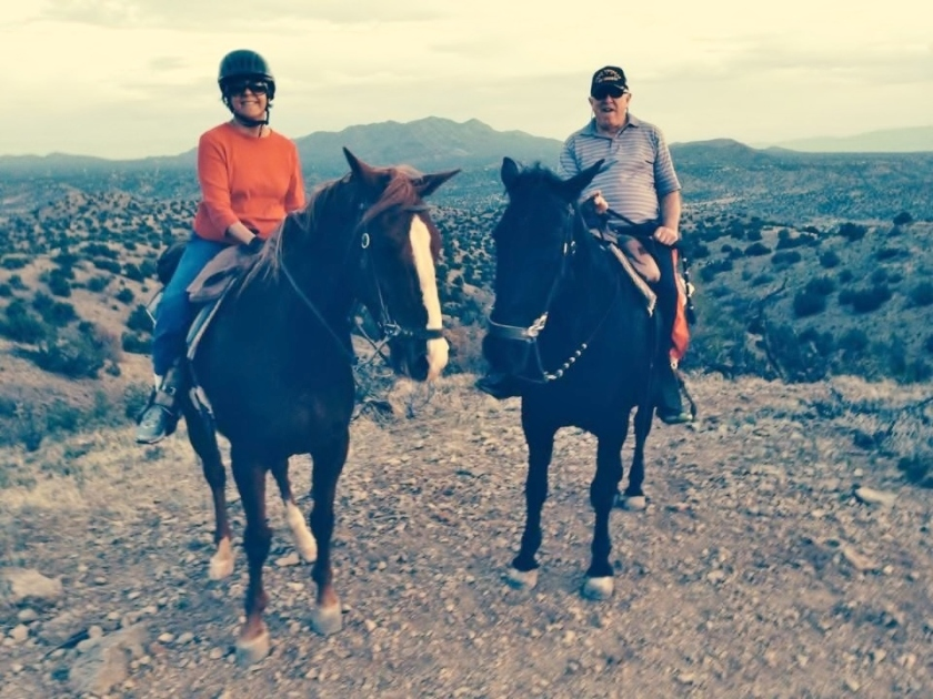 our  sunset ride on Lilly and Duke