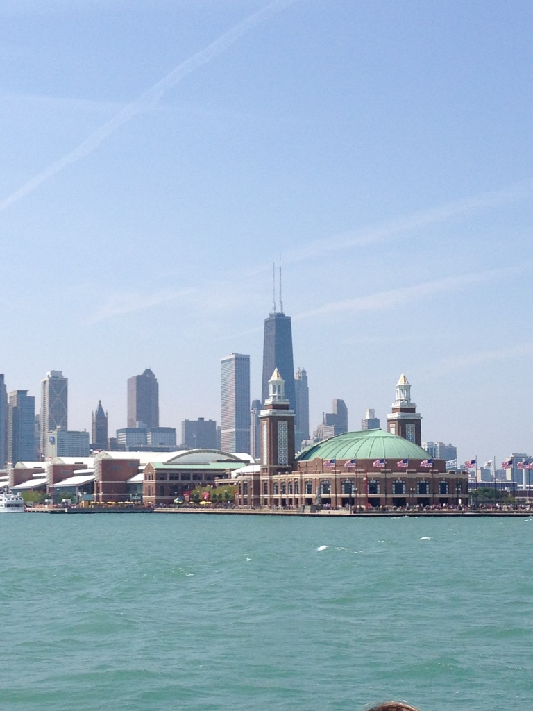 Chicago skyline from Lake Michigan with Navy Pier in foreground