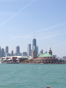 city skyline and Navy Pier from a boat on Lake Michigan