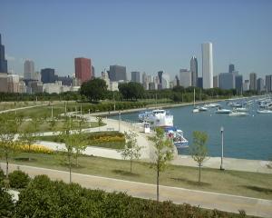 the city skyline across Lake Michigan