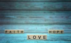 FAITH LOVE HOPE- words created with letter tiles