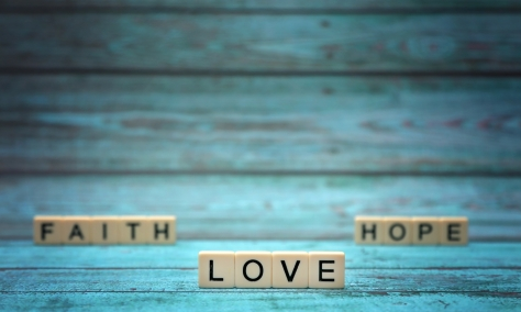 FAITH LOVE HOPE- words created with letter tiles