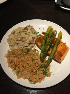 plate of sigh, asparagus and rice.