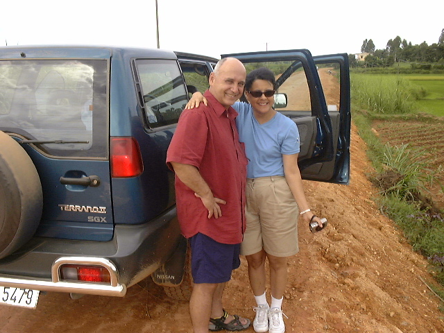 my husband snapped this photo of me with Bob; he went with us to visit the site of Raymond's firebase during the war