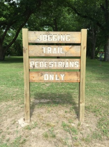 jogging trail sign
