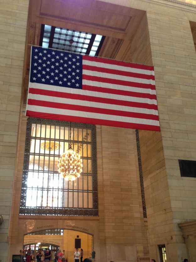 The United States flag displayed at Grand Central Station, New York City, NY