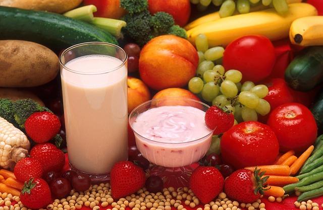 milk, yogurt, fruits, vegetables