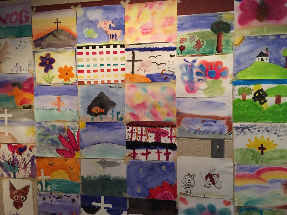 simple children's paintings on a wall