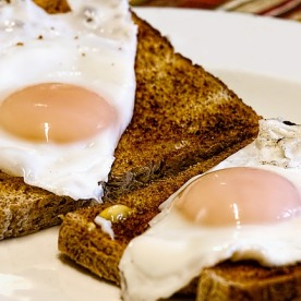 two fried eggs on toast
