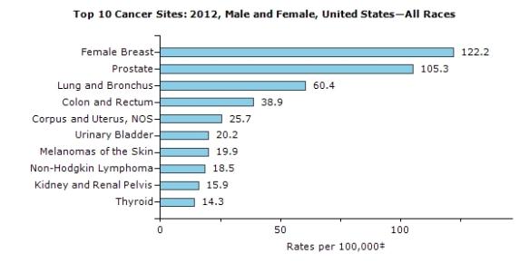 Top 10 cancers in the U.S.
