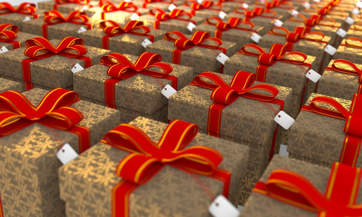 packages wrapped with red ribbon