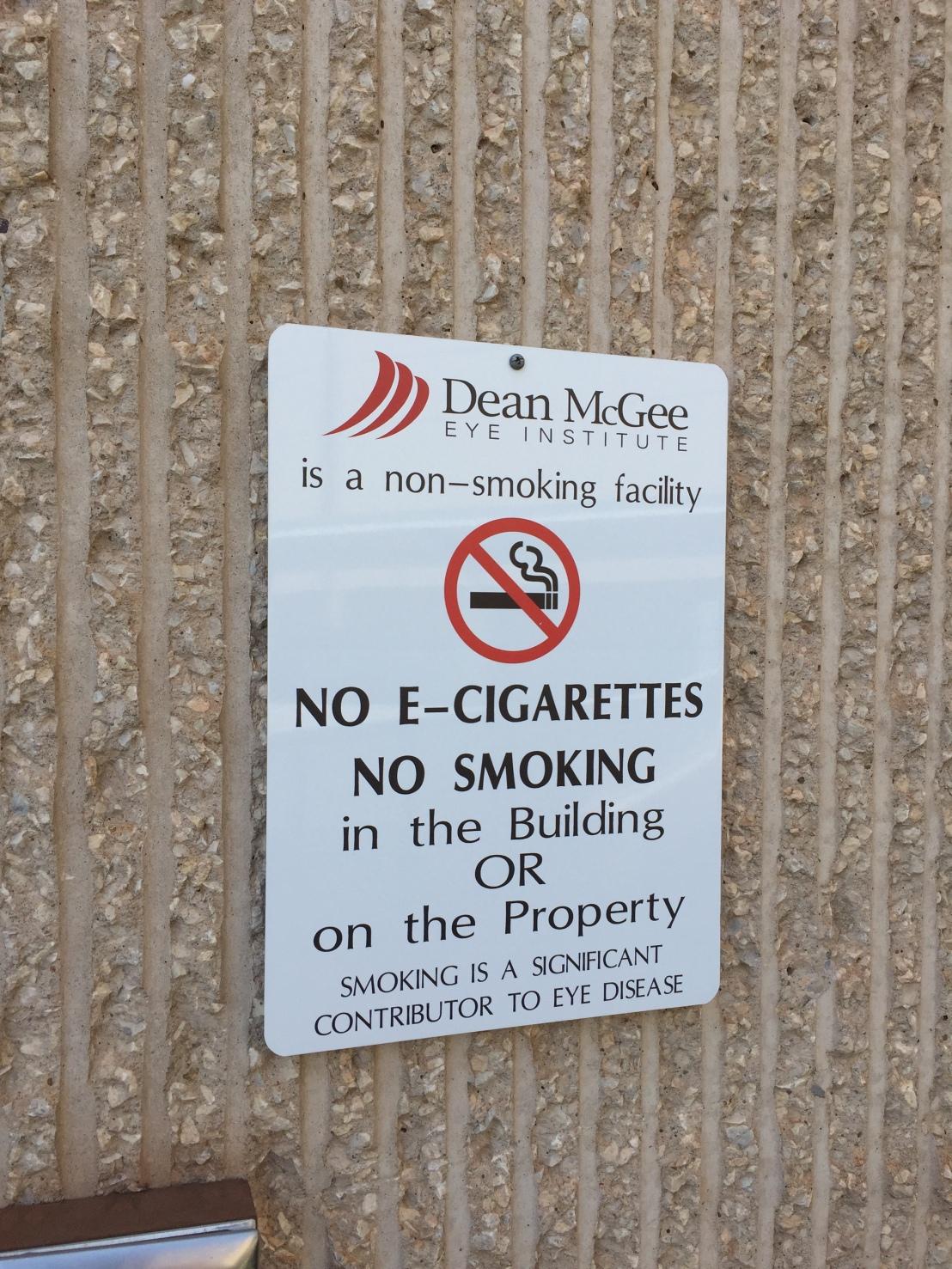 No smoking sign, says smoking contributes to eye disease