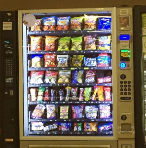 a vending machine with snack food