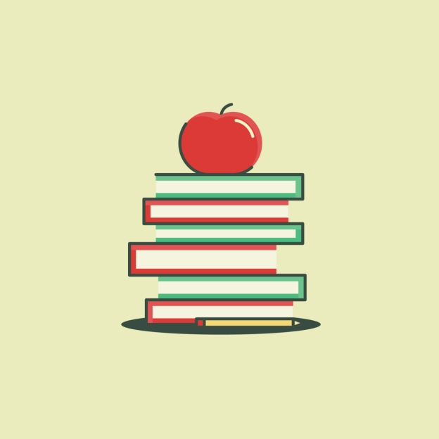 sketch of a stack of books with an apple on top