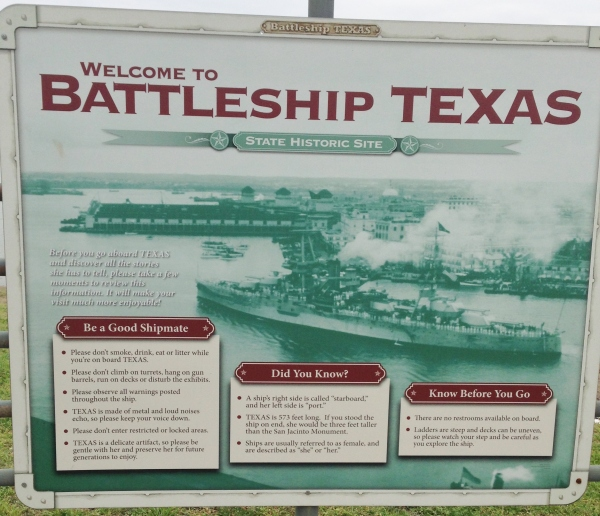 Battleship Texas sign