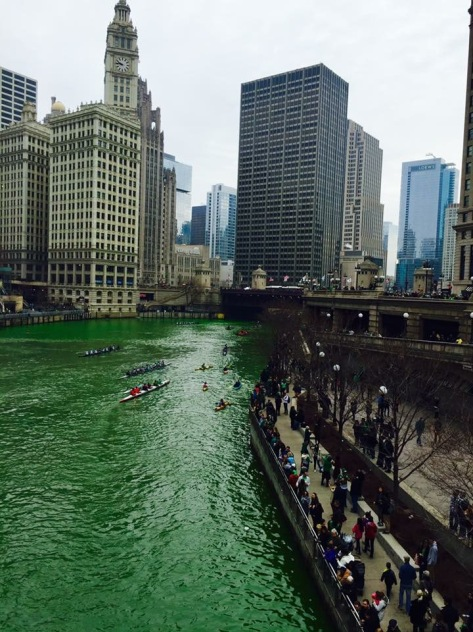 The Chicago River is green on St. Patrick's Day