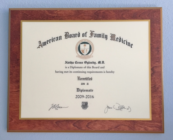 American Board of Family Medicine certification plaque