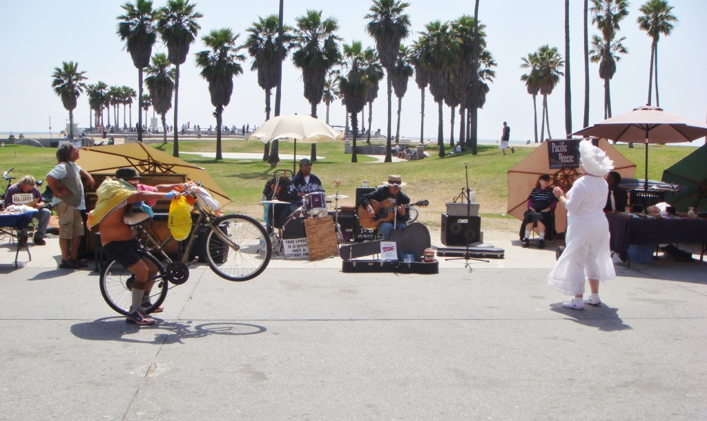 musicians on California beach