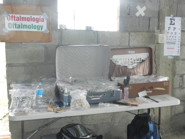 basic supplies for eye exams in a developing country
