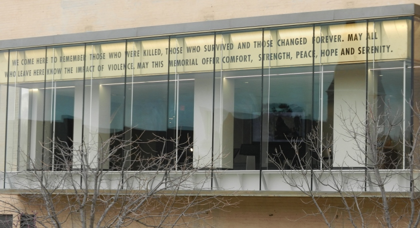 window at the Oklahoma City bombing museum