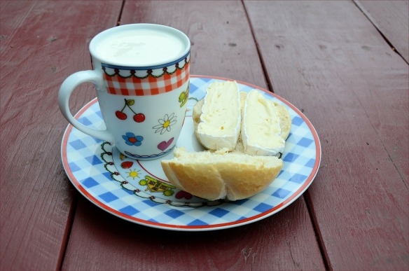 cup of milk, plate of bread