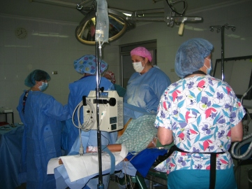 women doctors and nurses operating during a medical mission trip