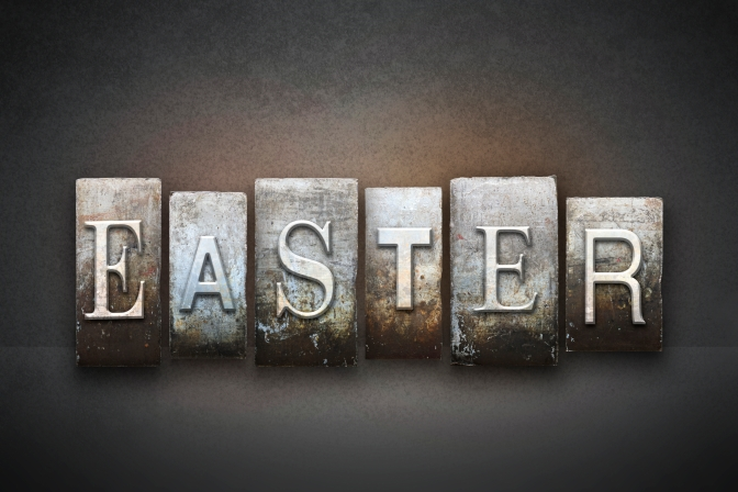 The word EASTER written in vintage letterpress type