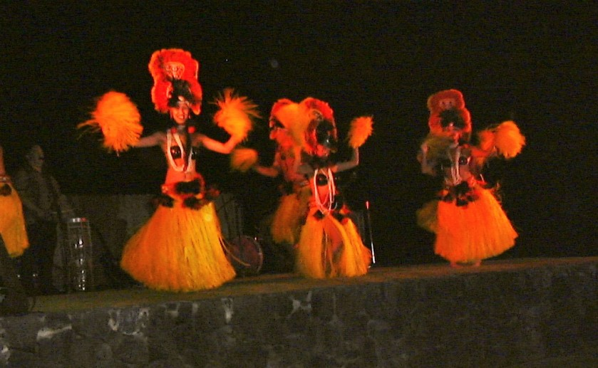 dancers in grass skirts-Hawaii