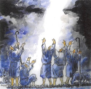 shepherds raising arms to the sky