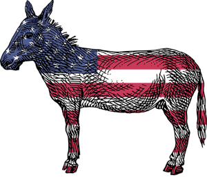 red, white and blue Democratic donkey