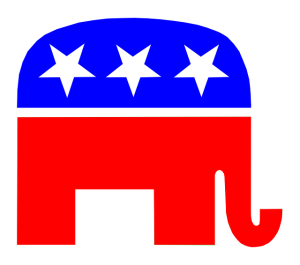 red, white and blue Republican elephant