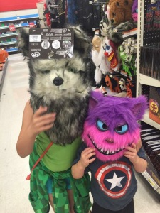 children in Halloween masks