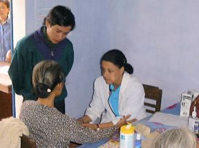 lady doctor with a patient