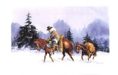 Man riding a horse in the snow