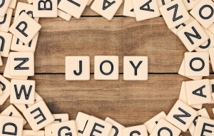 JOY- letters from Scrabble pieces