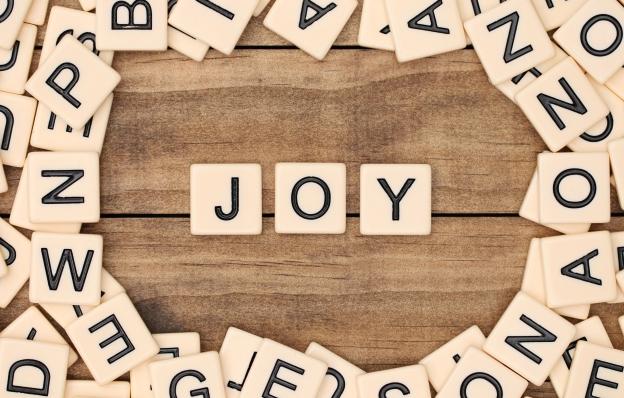 JOY- letters from Scrabble pieces