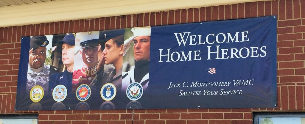 Welcome Home Heroes- military sign at a VA medical