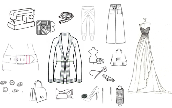 sketch of clothes, shoes, pants