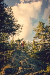 woman standing on a rock among tall trees