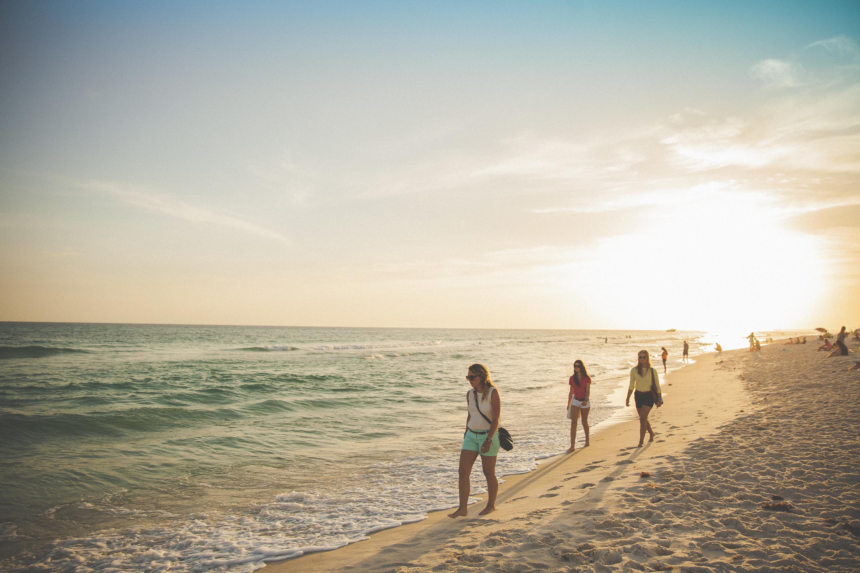 young women walking on a beach