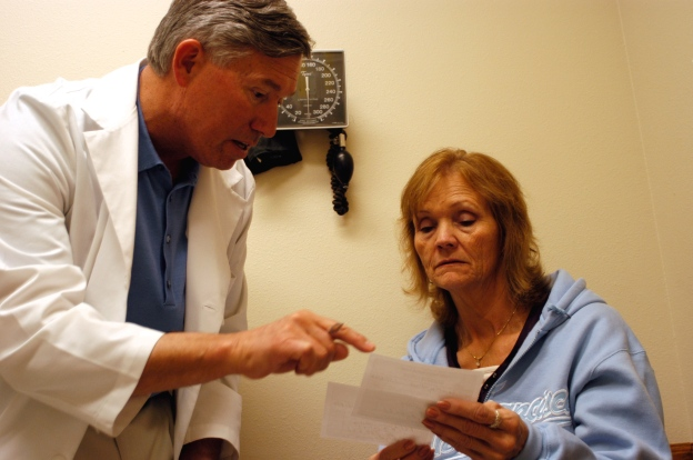 doctor talking to a woman