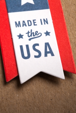 "ribbon with words ""made in the USA"""