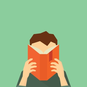 drawing of a man reading a book which hides his face