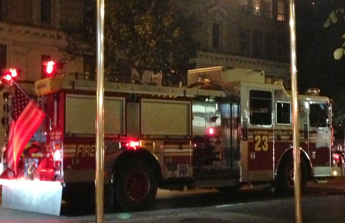 a New York City fire truck at night