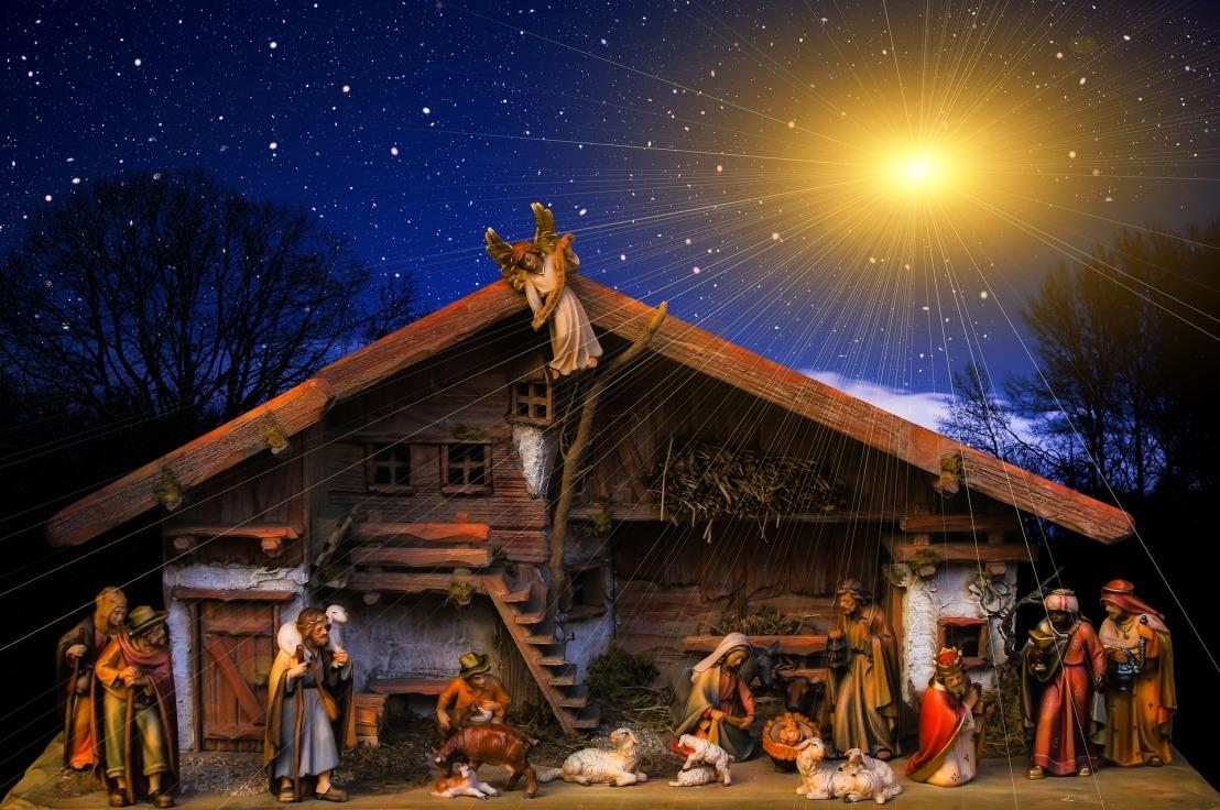 a nativity arrangement of the manger