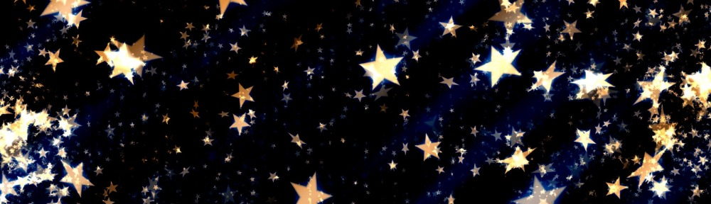 gold stars on a blue background