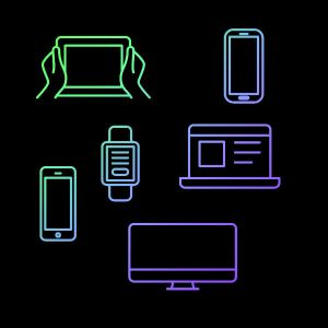 drawing of various electronic devices-phone, PC, tablet,