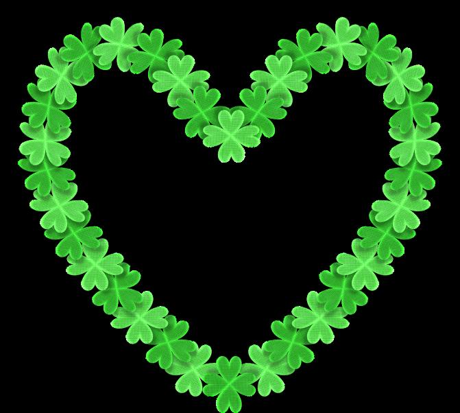 green shamrocks in a heart shape